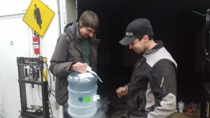 Mike (left) and Lloyd (right) experiment with liquid nitrogen